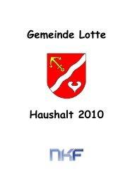 Teilergebnisplan 2010 - Gemeinde Lotte