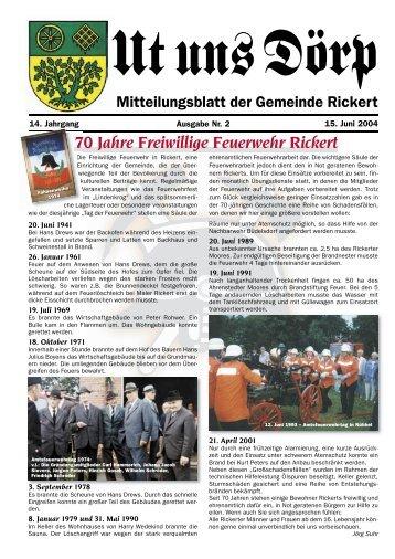 70 Jahre Freiwillige Feuerwehr Rickert - Gemeinde Rickert