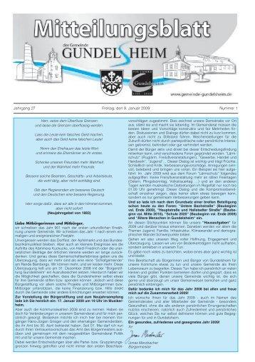 Jahrgang 27 Freitag, den 9. Januar 2009 Nummer 1 - Gemeinde ...