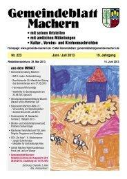 Amtsblatt Nr. 223 Juni 2013 - Gemeinde Machern