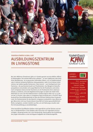 AUSBILDUNGSZENTRUM IN LIVINGSTONE - Gemeinsam für Afrika