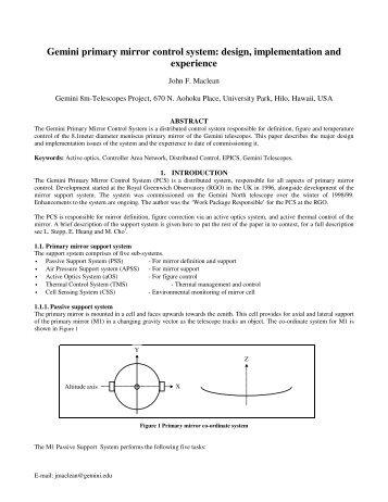 Gemini primary mirror control system - Gemini Observatory