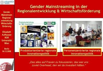 Gender Mainstreaming in der Regionalentwicklung und der ...