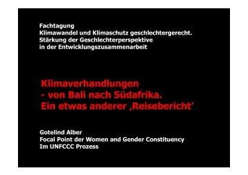 Präsentationen von Gotelind Alber - genanet - Leitstelle GENDER ...