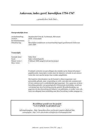 Ankeveen, index geref. huwelijken 1754-1767 - Geneaknowhow.net