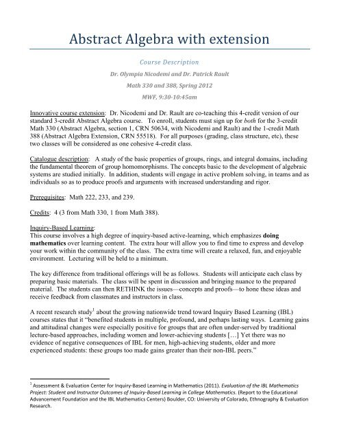 Inquiry-Based Learning course description for Abstract Algebra