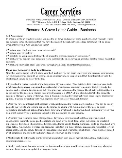 Resume & Cover Letter Guide - Education - SUNY Geneseo