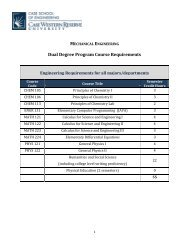 Dual Degree Program Course Requirements - Case School of ...
