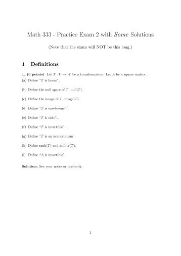 Math 333 - Practice Exam 2 with Some Solutions