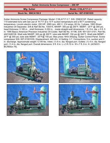 Sullair Ammonia Compressor Manuals