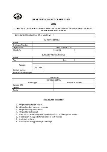 health insurance claim form hospitalization - Genins India TPA Ltd.
