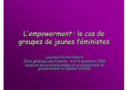L'empowerment : le cas de L'empowerment : le ... - Genre en action