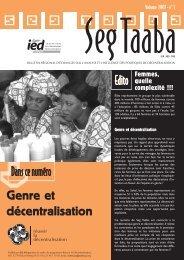 Seg Taaba - Volume 2007 - n°1 - Genre et ... - IED afrique
