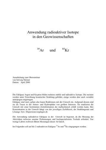 Medizinische Anwendung: radioaktive Marker und ... - PhysicsNet