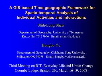 A GIS-based Time-geographic Framework for Spatio-temporal ...