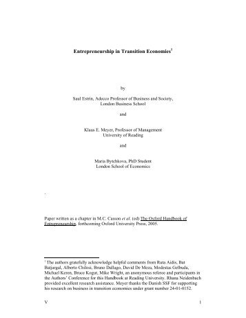 Entrepreneurship in Transition Economies - Klaus Meyer homepage