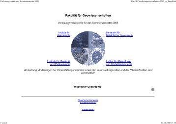 Vorlesungsverzeichnis Sommersemester 2005 - Geographie ...
