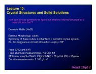 Lecture 10: Crystal Structures and Solid Solutions Read Chpt 2
