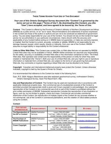 Nipigon–Beardmore Area Lake Sediment Geochemical Survey ...