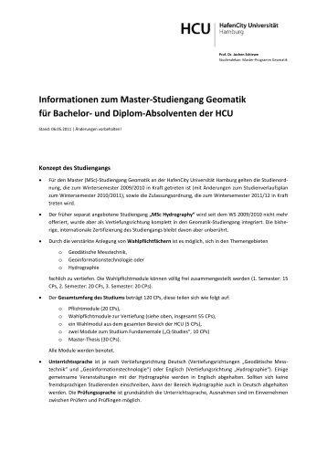 Übergang vom HCU-Bachelor Geomatik - Geomatik-hamburg.de