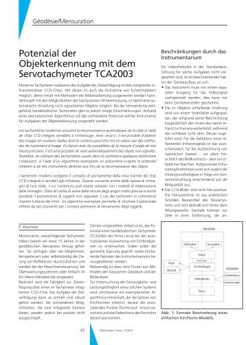 Potenzial der Objekterkennung mit dem Servotachymeter TCA2003