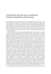 Czterdzieści pięć lat pracy naukowej Profesora Bolesława Nowaczyka
