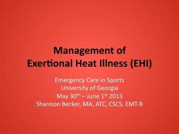 Management of ExerKonal Heat Illness (EHI) - University of Georgia