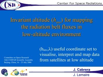 Invariant altitude - Center for Space Radiations