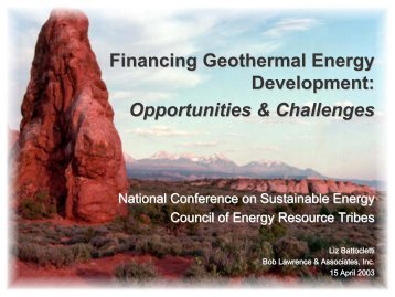 Financing Geothermal Energy Development: Opportunities ...