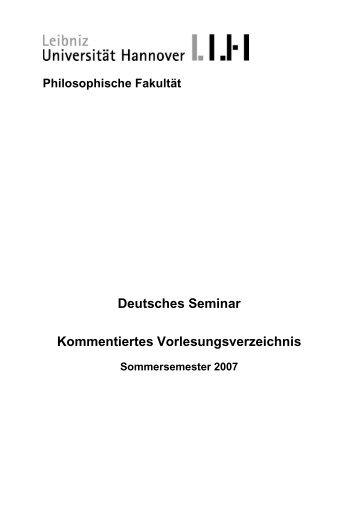 KVV SoSe 2007 - Deutsches Seminar - Leibniz Universität Hannover
