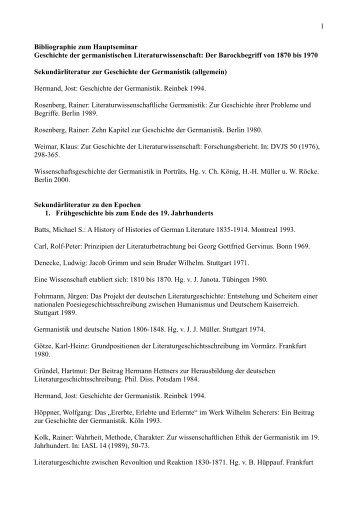 1 Bibliographie zum Hauptseminar Geschichte der germanistischen ...