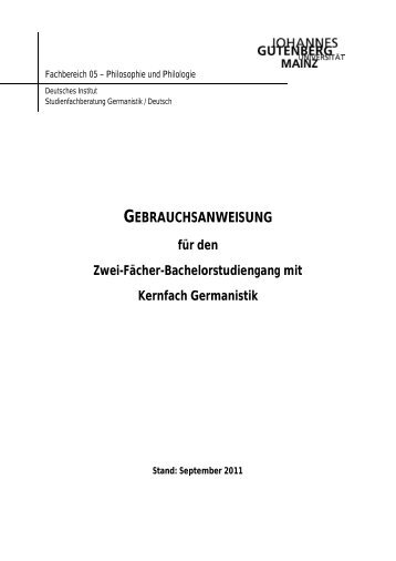 gebrauchsanweisung - Johannes Gutenberg-Universität Deutsches ...