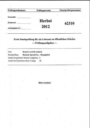 Staatsexamensklausur, Hauptgebiet, Herbst 2012 - Institut für ...
