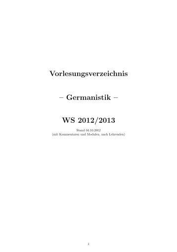 Lehrenden - Germanistik