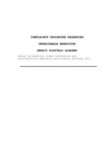 Complaintsprocedure - Gerrit Rietveld Academie