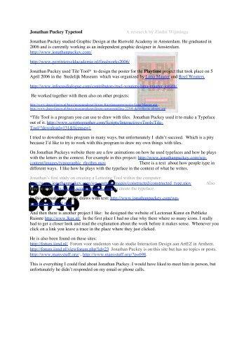 Jonathan Puckey Typetool A research by Zindzi Wijminga Jonathan ...