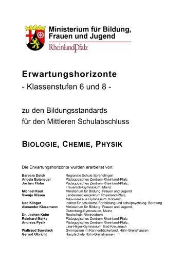 Erwartungshorizonte in den Fächern Biologie, Chemie und Physik ...