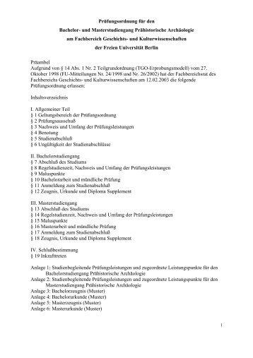 Prüfungsordnung für den Bachelor- und Masterstudiengang ...
