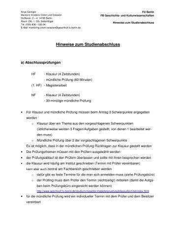 Hinweise zum Studienabschluss - Fachbereich Geschichts