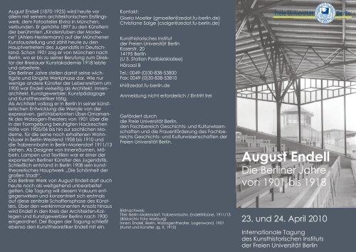 August Endell - Fachbereich Geschichts - Freie Universität Berlin