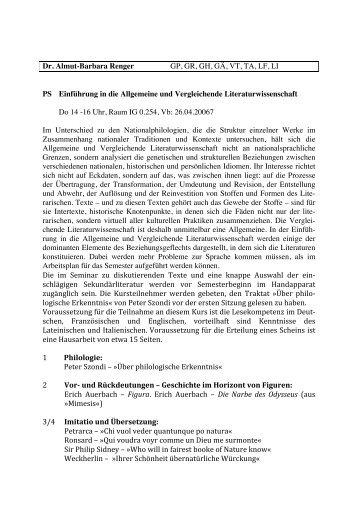 Einführung in die Allgemeine und Vergleichende Literaturwissenschaft