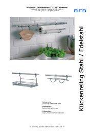 Reling und Nischensysteme für die Küche - BFB GmbH