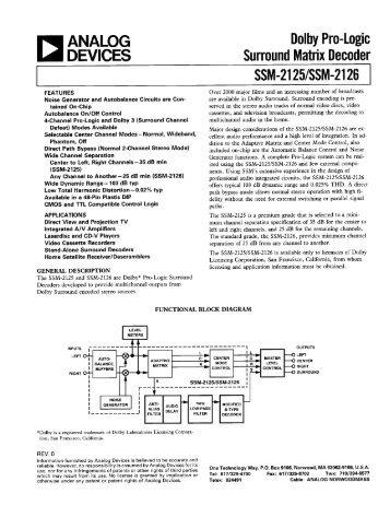SSM-2125/SSM-2126 Dolby Pro-Logic Surround Matrix Decoder - igor