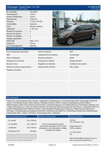 Volkswagen Touran Style 1 2 l TSI 21.930 EUR