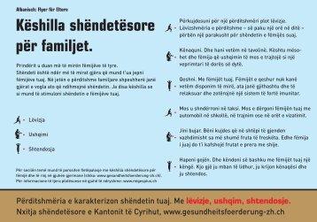 Këshilla shëndetësore për familjet. - Institut für Sozial- und ...