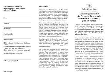 Aufklärungsmerkblatt für Personen, die gegen die Neue Influenza A ...
