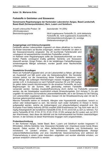 Zusammenstellung der Konservierungsmittel und Farbstoffe, in den ...