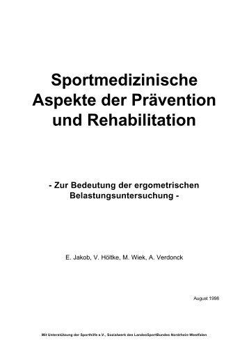 Sportmedizinische Aspekte der Prävention und Rehabilitation
