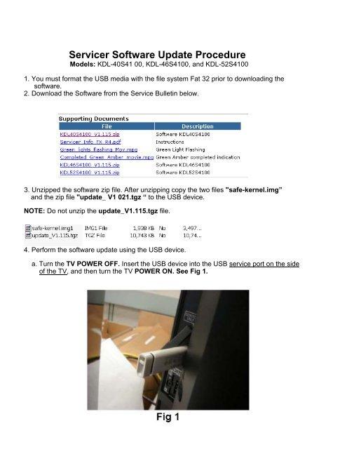 Servicer Software Update Procedure Models: KDL-40S41 00, KDL