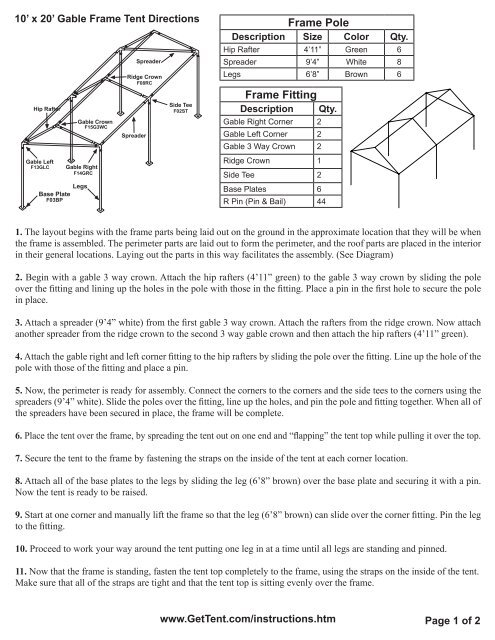 x 20' Gable Frame Tent Directions - Celina Tent